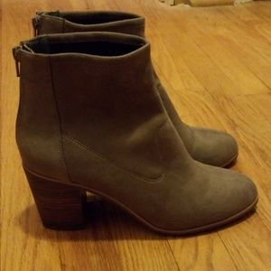 BC Ringmaster taupe zip-back ankle booties